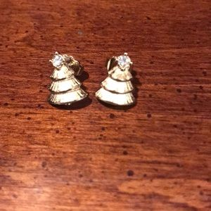 Avon Christmas Tree Post Earrings with CZ Accent
